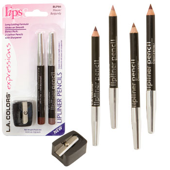 L.A. Colors Expressions Lipliner Pencils with Sharpener, 3-ct. P